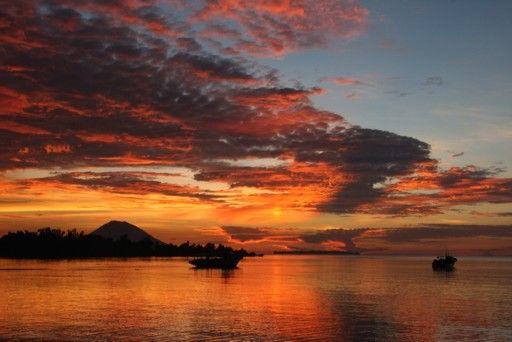 Amazing gold sunset at Kima  Bajo, Sulawesi Utara.