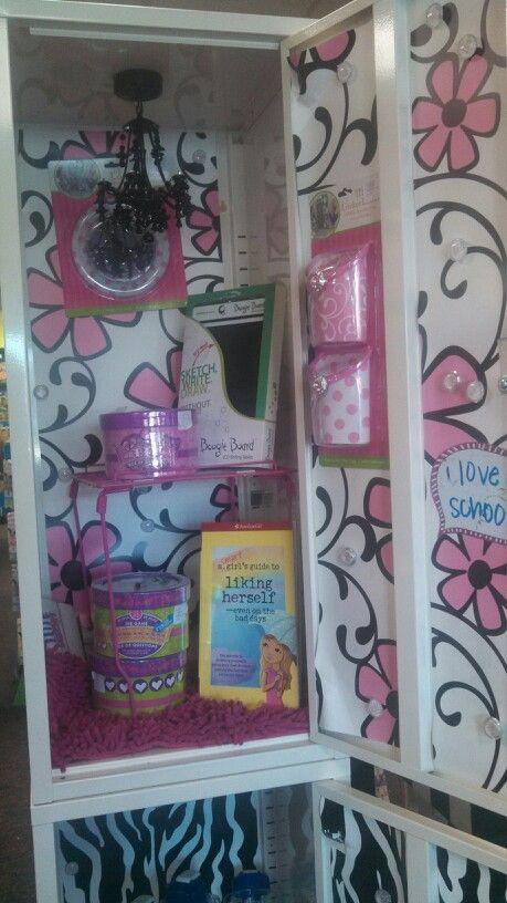 Kids diy- decorate their locker with pink floral paper, locker chandelier