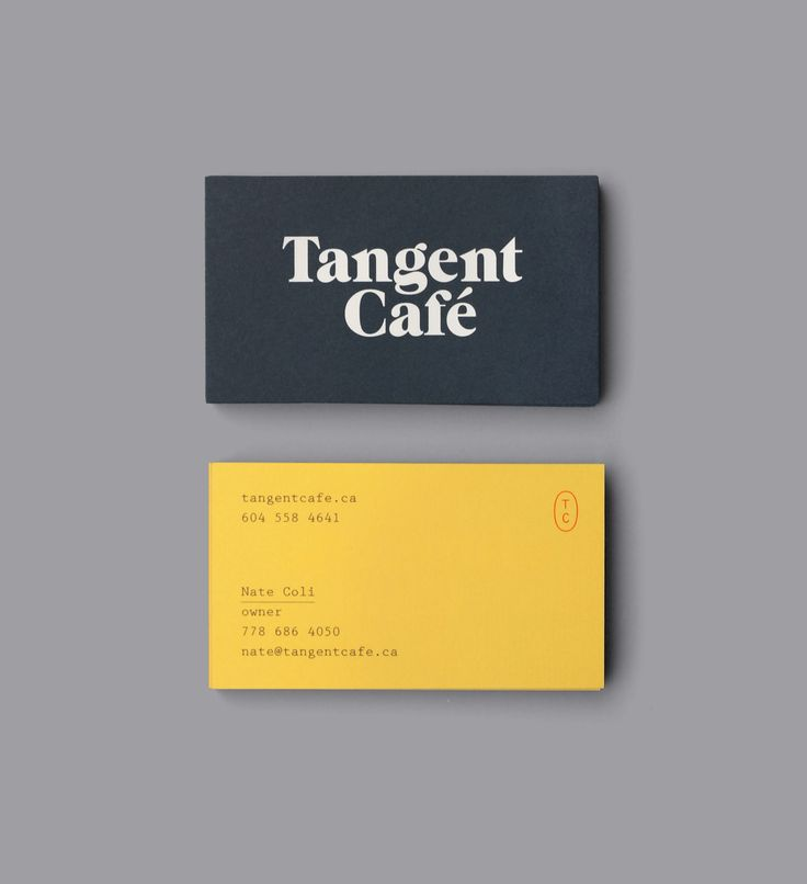 Brand identity and duplex business card design for Tangent Café designed by Fivethousand Fingers.