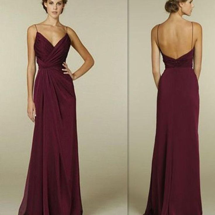Burgundy Spaghetti Straps V-neck Simple Open Back Long Formal Prom Bridesmaid Dress. PB1001