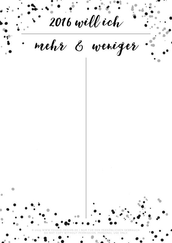 Vorsätze für 2016 Liste Free Printable Freebie New Year Resolution | www.youdid-design.de