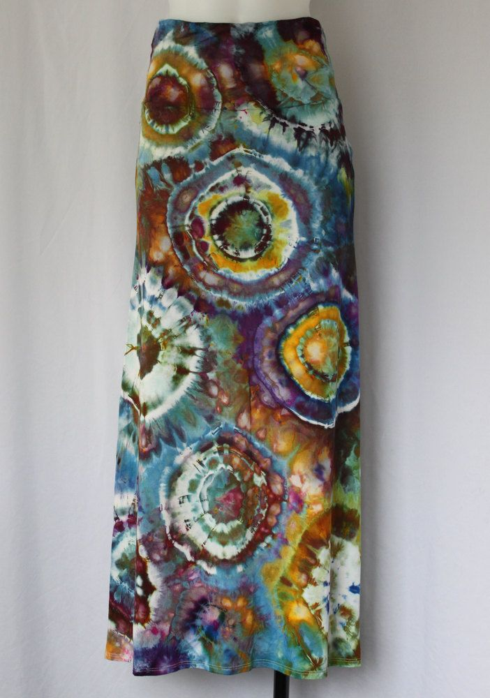 Tie Dye Maxi skirt - ice dyed - Artshow Painting Bullseye - Size Small by ASPOONFULOFCOLORS on Etsy