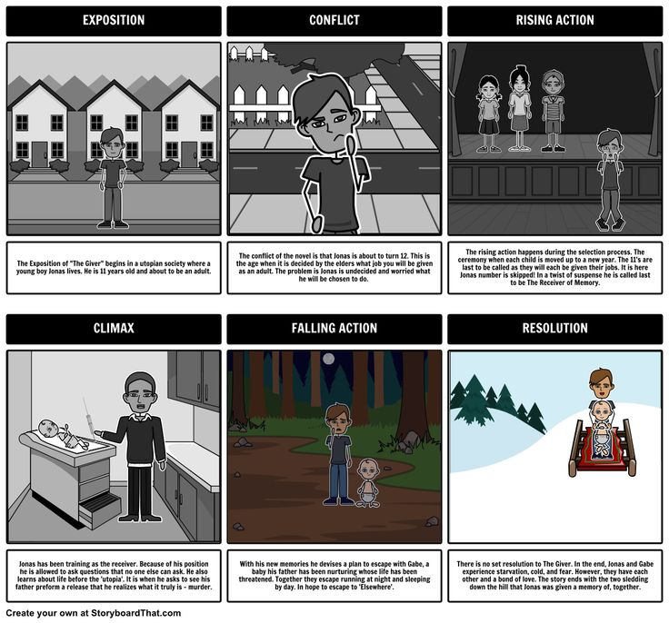 The Giver - Plot Diagram storyboard by: rebeccaray