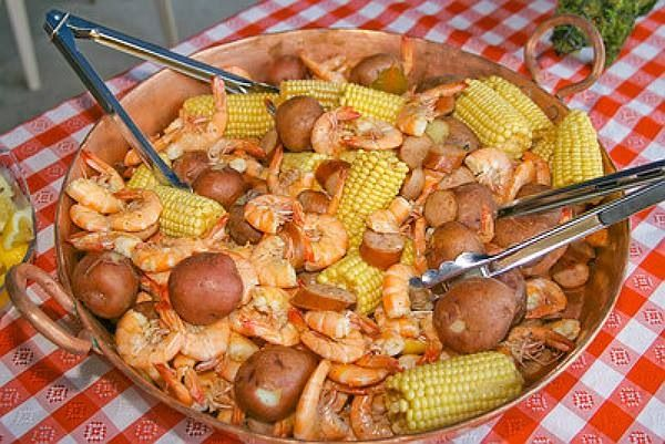 Shrimp, potatoes, and corn