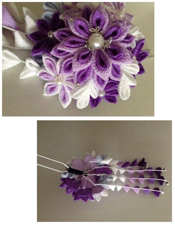 【つまみ細工】花簪 淡紫 2x