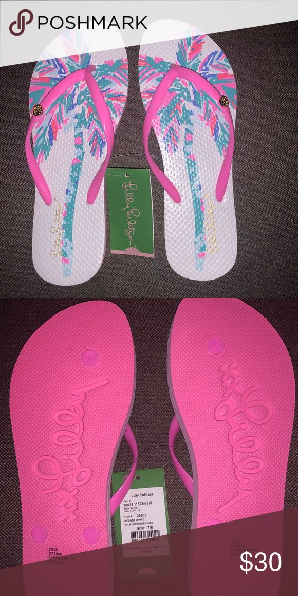0a149790032f NWT LILLY POOL FLIP-FLOP 7 8 LILLY PULITZER POOL FLIP-FLOP SIZE 7 8 STYLE    20635 RESORT WHITE Lilly Pulitzer Shoes Sandals