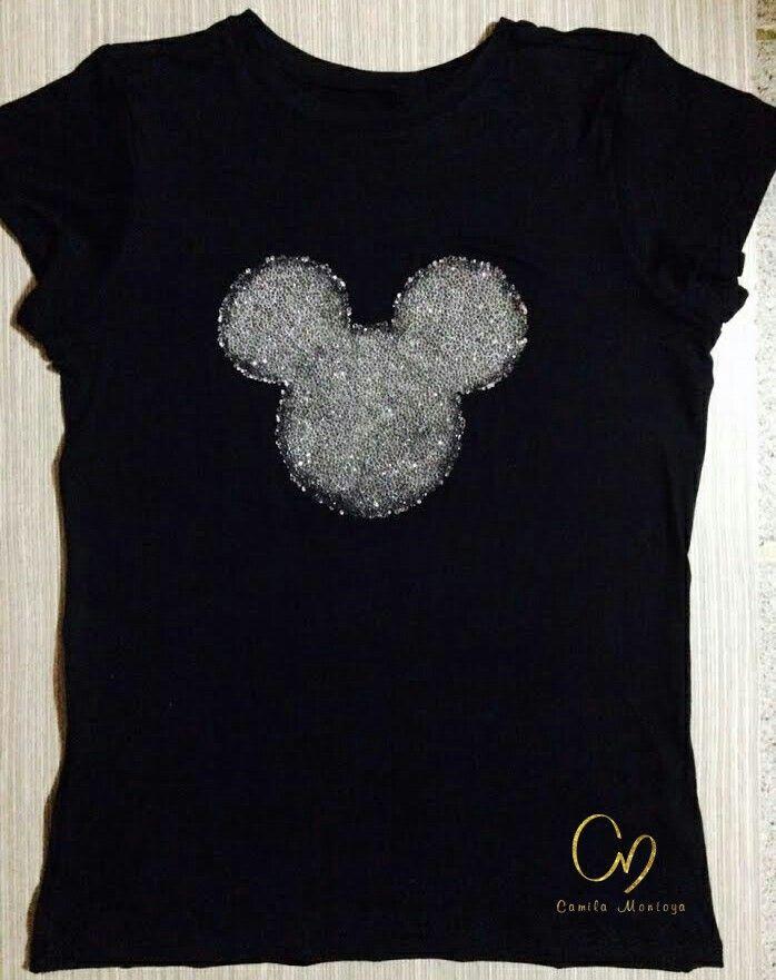 T-Shirt en algodón pima 100%, aplique en pedrería, colores negro, gris y blanco en tallas S, M, L y XL Pereira - Colombia