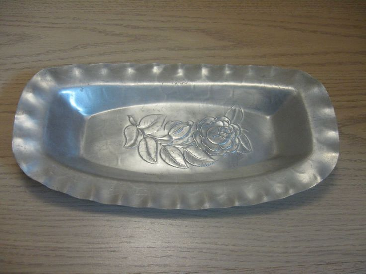 Aluminum Serving Tray Relish Dish Bowl Rose & Leaves Etch