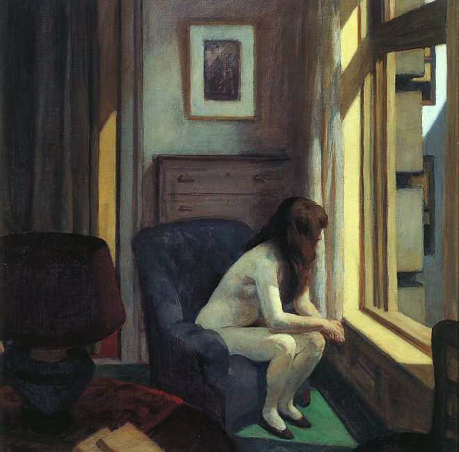 Hopper's  Eleven A.M.    1926  Ever felt naked and alone? Watching life through a window? Why DOES she have on shoes?