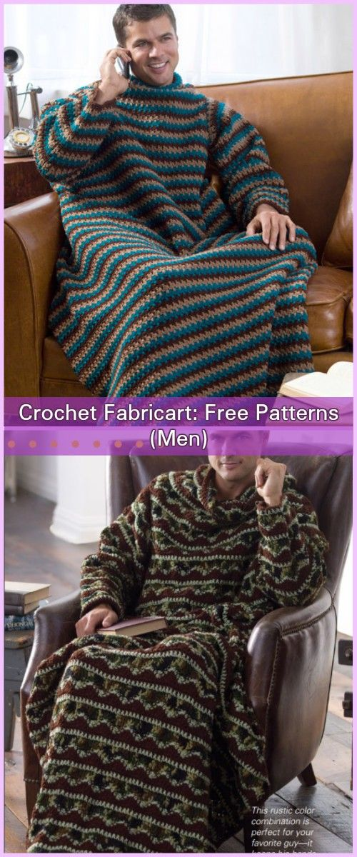 Crochet Men Stripe Snuggle Up Blankets With Sleeves Free Patterns