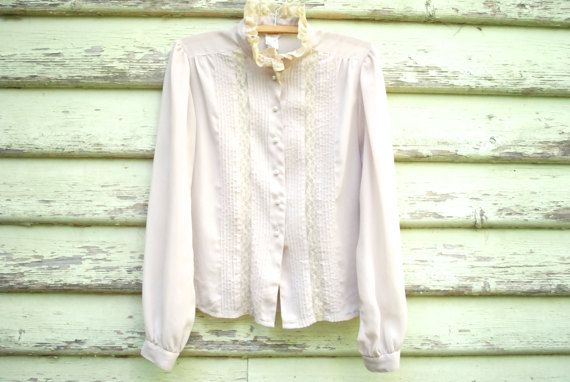 Vintage 70s Lace Blouse Sheer Hippie Retro by GamineRagVintage