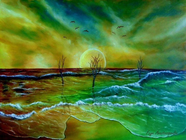 Fine Art, for sale, online, oil painting,  contemporary, whimsical, magical,  imaginary, realism, fantasy, colorful, green, golden, blue, colorful, coastal scene, sandy beach, waves, ocean, shore, seaside, seascape,  sky, sunset, surreal, atmospheric, theme,  water,summer, by the sea, beautiful, nostalgic, poetic, art prints