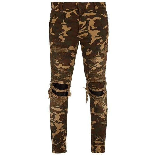 Balmain Distressed camouflage-print skinny biker jeans (£855) ❤ liked on Polyvore featuring men's fashion, men's clothing, men's jeans, camouflage, mens super skinny jeans, mens ripped skinny jeans, mens camouflage jeans, mens skinny fit jeans and mens super skinny ripped jeans