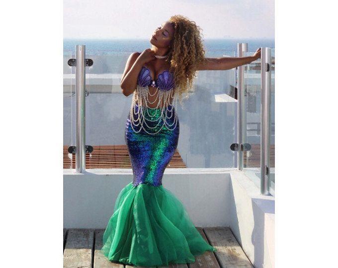 Women/'s Sequin Green Blue Mermaid Halloween Cosplay Costume Skirt Party