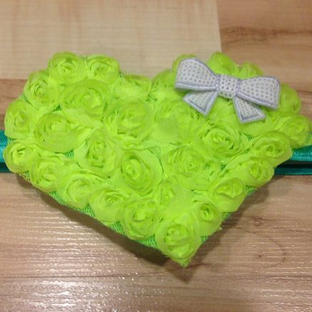 Large Whimsical Heart - Neon Green, White and Blue Green