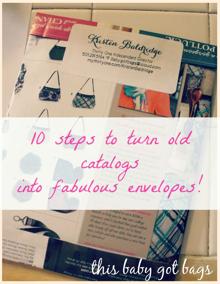 Turn your old catalogs into amazing and informative envelopes! Mail mini catalogs, or happy mail! #thirtyone #directsales #thirtyoneideas