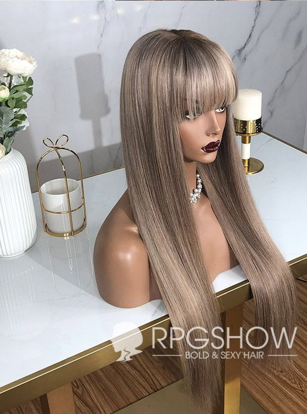 Ash Blonde Bangs Straight Lace Front Wig Coco Straight Lace Front Wigs Lace Front Wigs Blonde Bangs