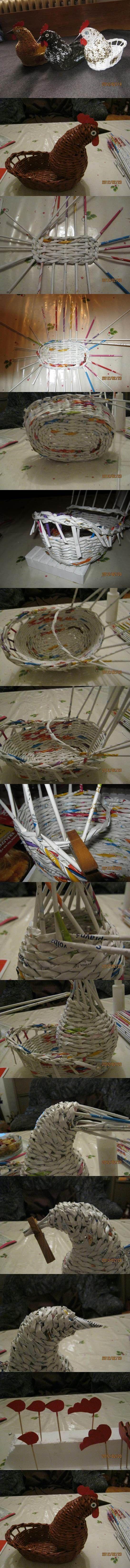 DIY Woven Paper Chicken Easter Basket   iCreativeIdeas.com Follow Us on Facebook --> https://www.facebook.com/icreativeideas: