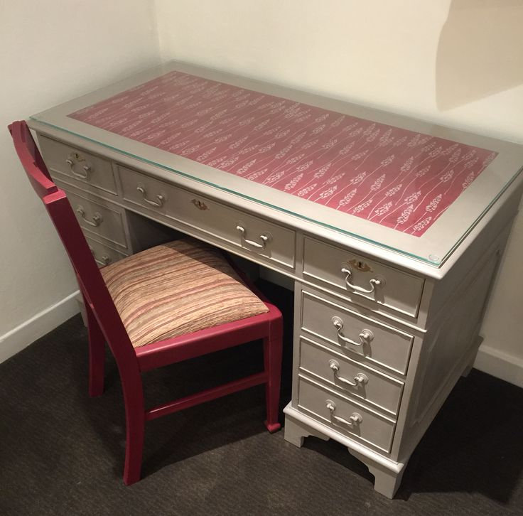 Vintage desk, painted in ASCP French Linen and Burgundy, using Annie Sloan's lavender stencil, and sealed with clear wax.