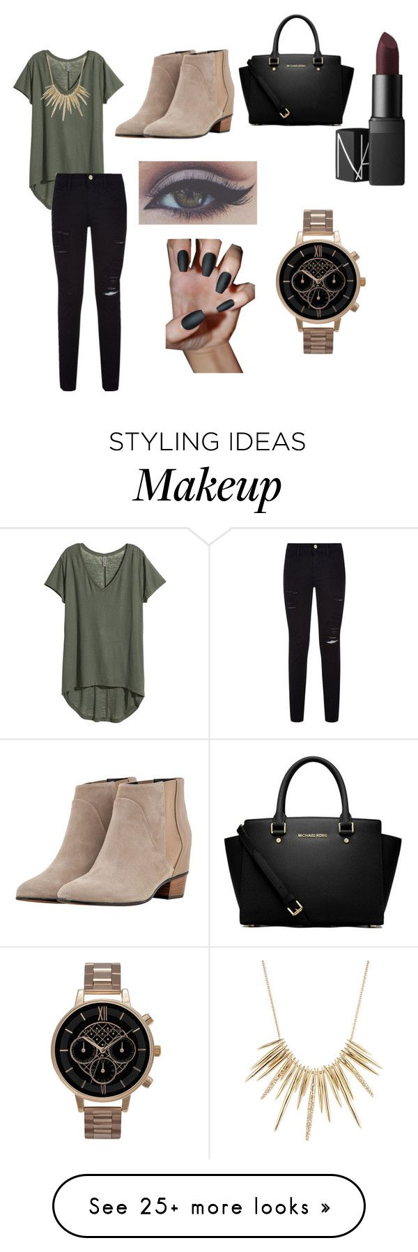 """Untitled #19"" by deviniamalone on Polyvore featuring mode, H&M, Frame Denim, Golden Goose, NARS Cosmetics, MICHAEL Michael Kors, Olivia Burton et Alexis Bittar"