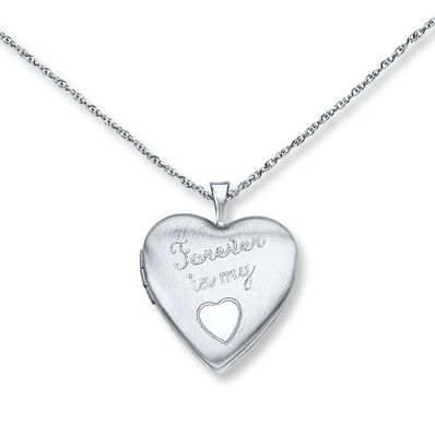 Heart Locket Necklace Forever in my Heart Sterling Silver
