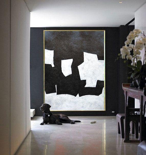 Black White Painting Minimalist Art Large Canvas by CelineZiangArt