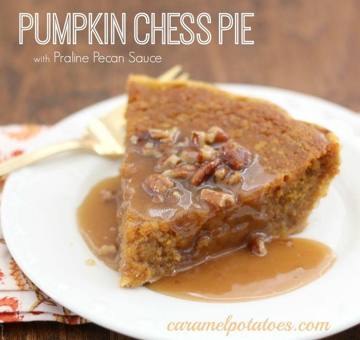 Pumpkin Chess Pie with Praline Pecan Sauce by Caramel Potatoes - Yes please!!! Yum!