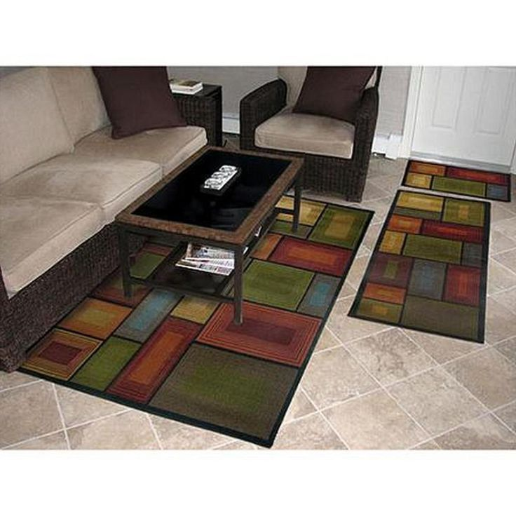 Rubber Backing Rug Set 3 Piece Living Room Carpet Floor Mat Nylon 3D Runner