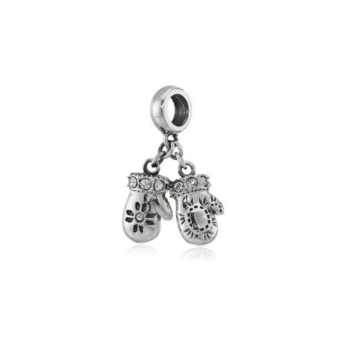 Chamilia Sterling Silver Mittens with Swarovski Crystal Bead Charm - $30