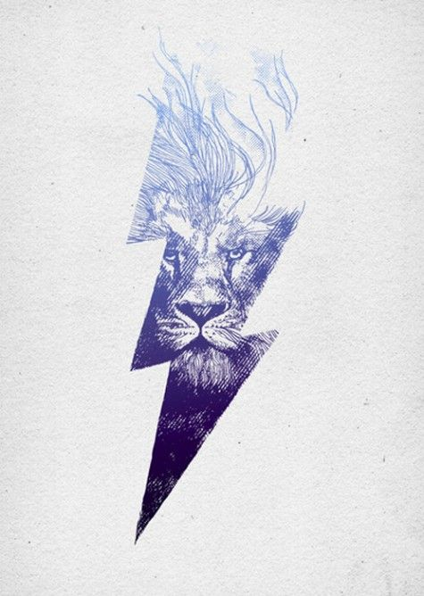 Great color palette, great photo manipulation of the thunderbolt fading into the lion, and love the spacing of the hairs in the mane to give a fluid motion to the piece.