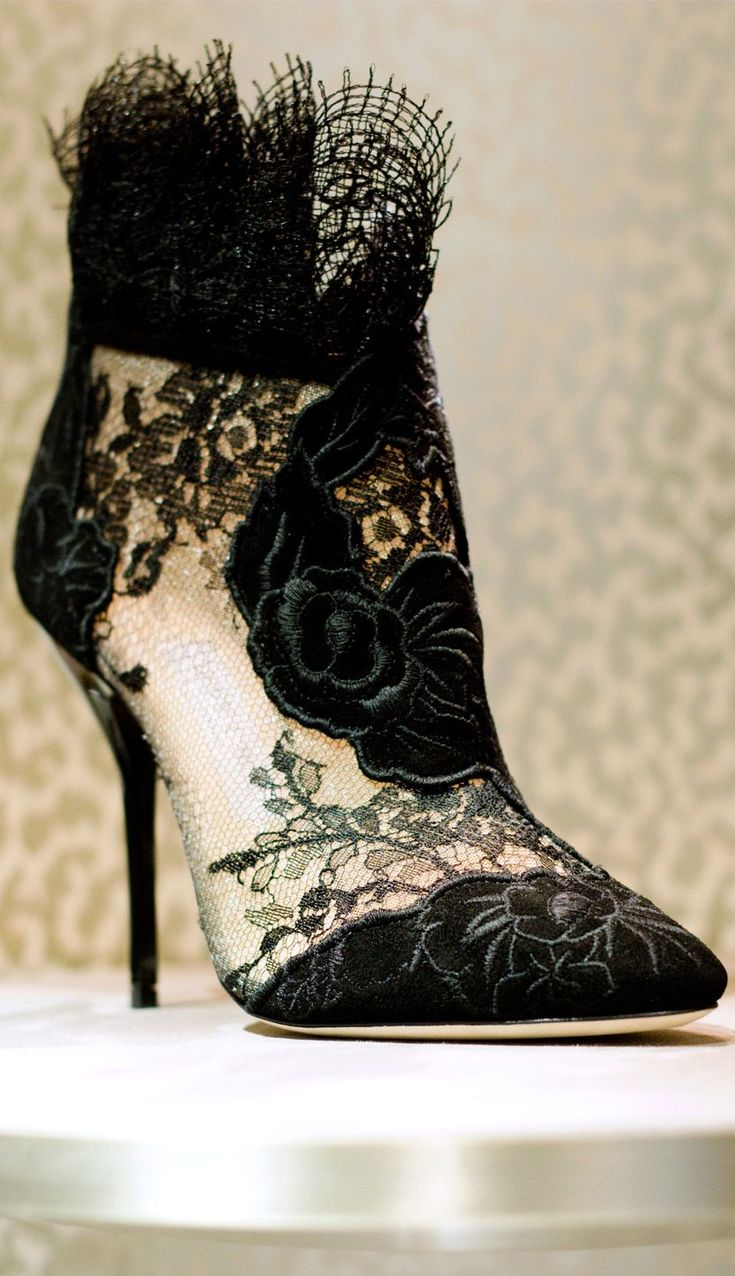 Black Floral Lace Booties                                                                             Source