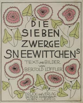 Frontispiece Die Sieben Zwerge Sneewittchens, 1912, DIE SIEBEN ZWERGE SNEEWITTCHENS TEXT und BILDER VON BERTOLD LÖFFLER DRUCK und VERLAG BRÜDER ROSENBAUM WIEN-LEIPZIG. 26,7 x 22,2 cm (plate), 30,9 x 25,3 (sheet). Colour lithograph on vellum. Mounted, glass frame.