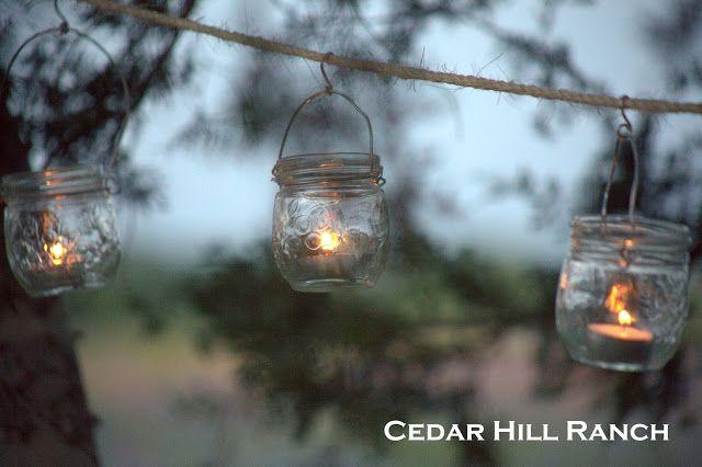 Mason Jar Lights: Make your own charming outdoor lighting with mason jars and votives! www.cedarhillfarmhouse.com