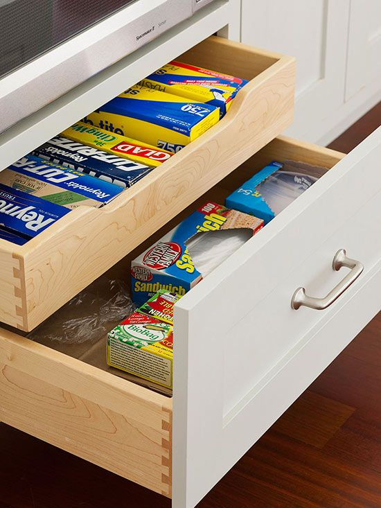 Divided Drawers - I like the idea of these for cutlery and larger kitchen utensils and such gubbins (chopping knives, tin openers, measuring spoons, ladles, rolling pins, etc)