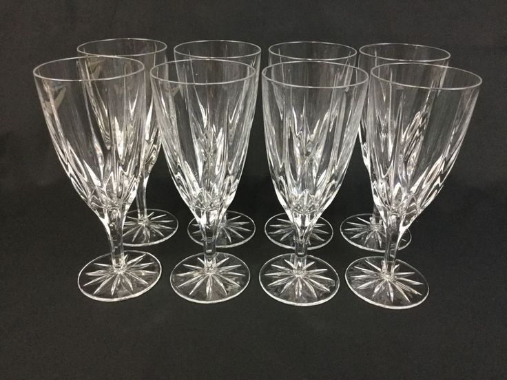 Mikasa Apollo EIGHT Crystal 7 3/4 Inch Iced Tea Water Goblets Glasses #Mikasa