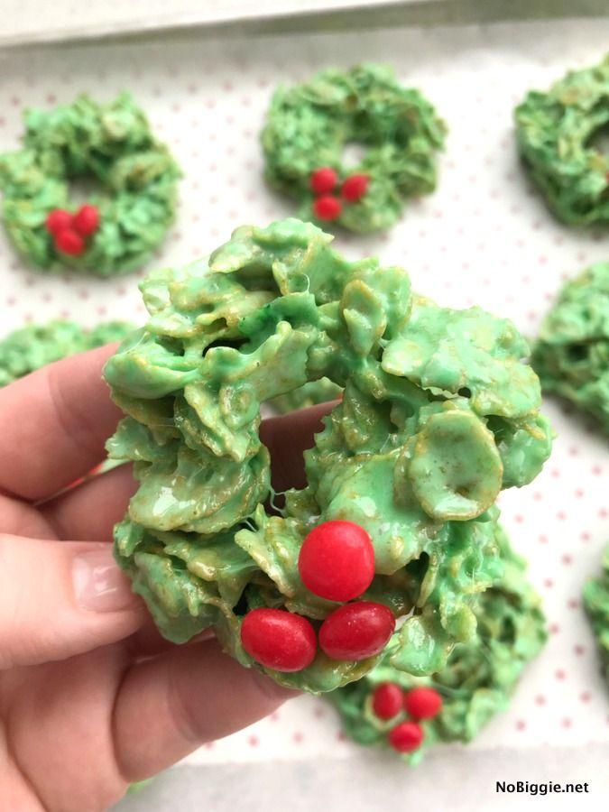 Christmas Wreath Cookies.Christmas Cornflake Wreath Cookies