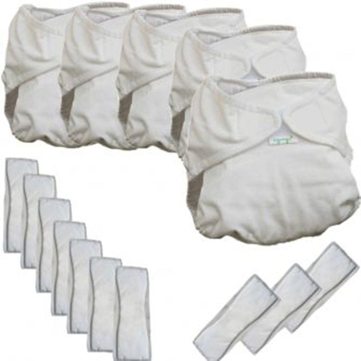 Kit 5 pannolini lavabili + 5 tamponi per bambini da 1 a 3 mesi. Una scelta per l'ambiente, per il portafogli e per la pelle del tuo bambino. Spese di spedizione gratuite!