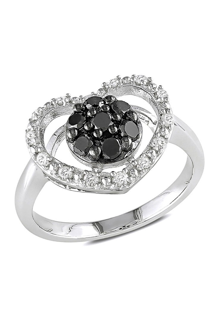 Statement Rings 0.5 ct Black & White Diamond Heart Ring in Silver - Beyond the Rack