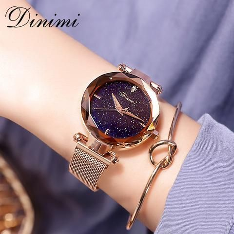 Dimini Magnetic Women Watches Starry Dial Lady Watch Mesh Belt Women Dress Watch…