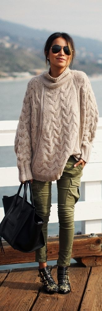 Grey cable sweater with green/camo skinnies
