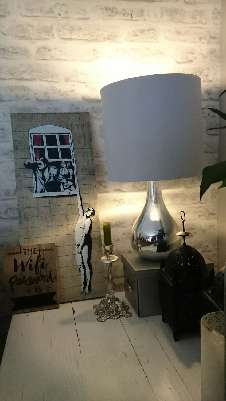 Table lamp on reclaimed white washed side table