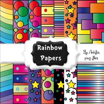 """Rainbow papers: Here's a collection of 14 digital papers. Png files, 300 dpi. 8,5""""X11"""""""