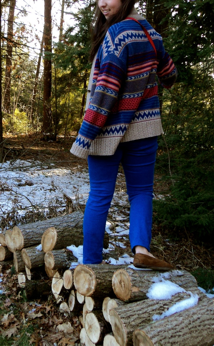 Nordstroms tribal sweater with Urban Outtfiters bootcut cobalt pants (Winter 2012)