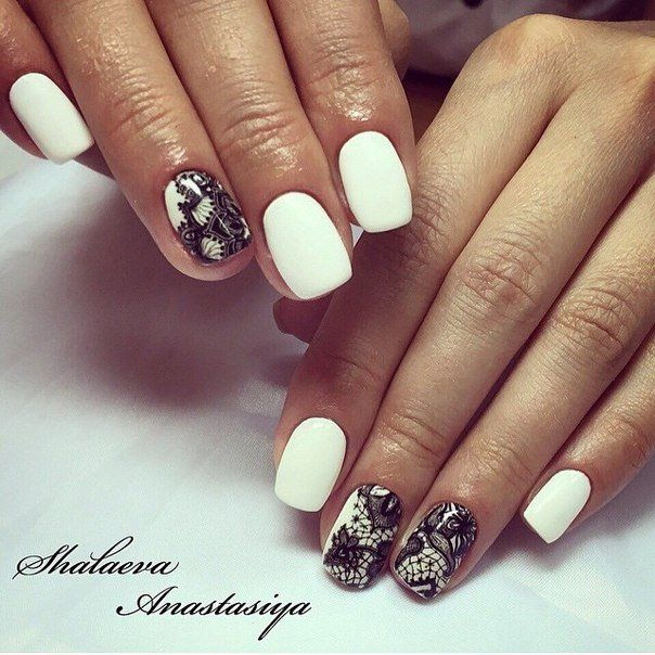 Beautiful nails 2016, Fashion nails 2016, Manicure by summer dress, Nails with stickers, Nails with white gel polish, Pattern nails, Shellac nails 2016, Summer nail art