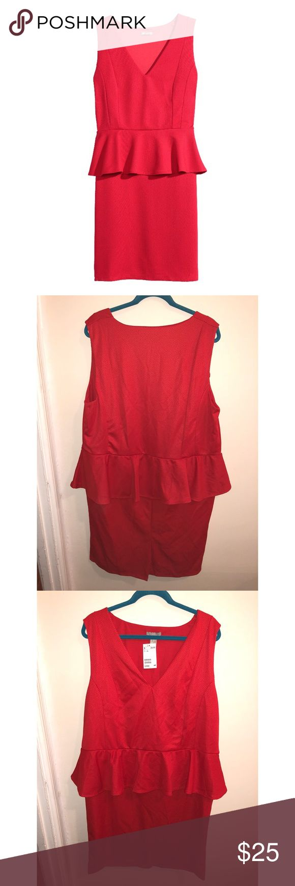 NWT H&M Plus Size Red Peplum Dress, 2X Never worn. Perfect condition (just needs ironed/steamed!) Nice thicker material with stretch. ~41 inches shoulder to hem. Great for a nice night out. H&M Dresses