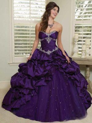 Purple Taffeta Ball Gown Gothic Corset Wedding Dress