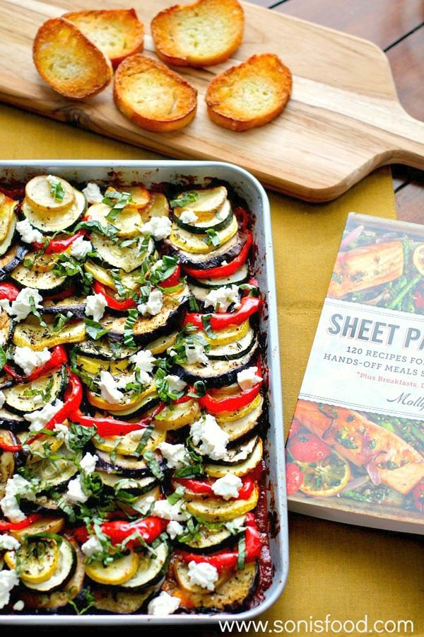 Sheet Pan Meals: Ratatouille with Goat Cheese – Chop up some veggies, toss them on the pan, sprinkle with cheese and voila! A vegetarian dinner for four is served. Get the recipe from Sonia's Food.