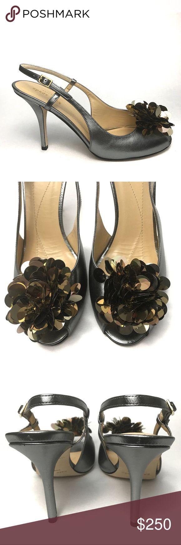 "Kate Spade Pom Pom Sequin Caz Slingback Heels Brand new slingback heels! Silver leather, gold paillette sequins. Adjustable buckle, open toe. Approximately 3.5"" heel. kate spade Shoes Heels"