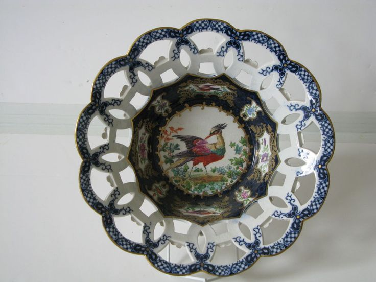 Antique Booths Dr Wall style Scale Blue Exotic Birds reticulated 7.5 Dish