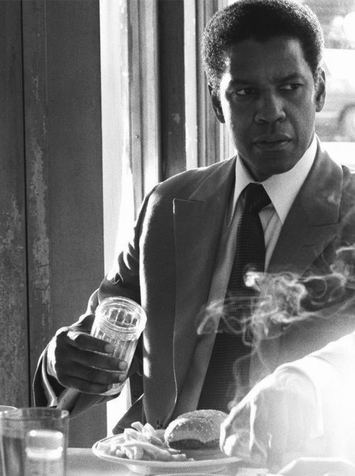 Washington on the set of American Gangster. (2007)